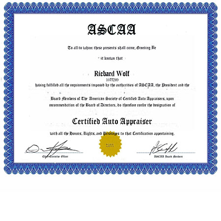 ASCAA Certified Car Appraiser